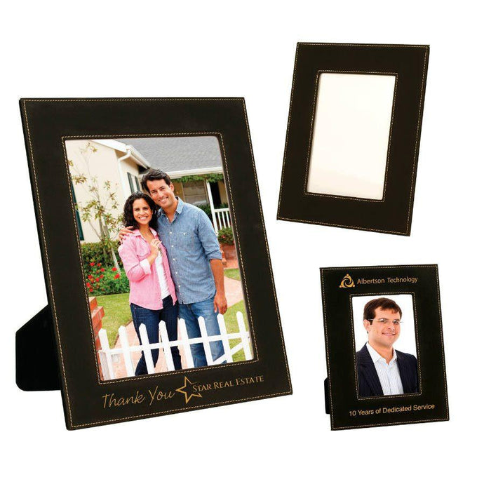 Laser Pics and Gifts: Black/Gold Leatherette Picture Frame - Laser Pics & Gifts