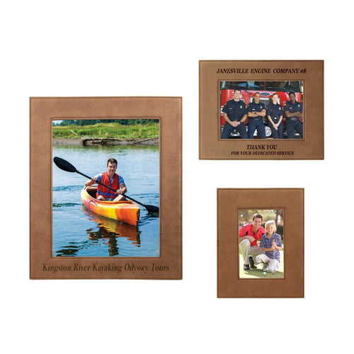 Laser Pics and Gifts: Dark Brown Leatherette Picture Frame - Laser Pics & Gifts