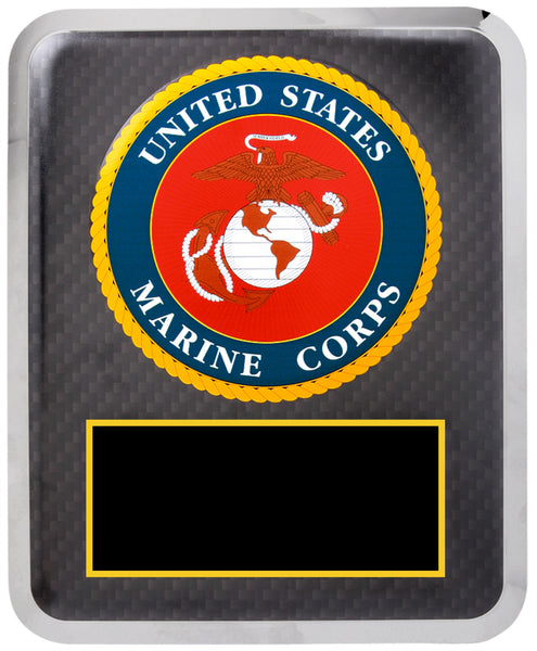 "10 1/2"" x 13"" Marine Corps Hero Plaque Black w Gold Text"
