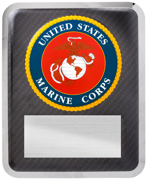"10 1/2"" x 13"" Marine Corps Hero Silver w Black Text"