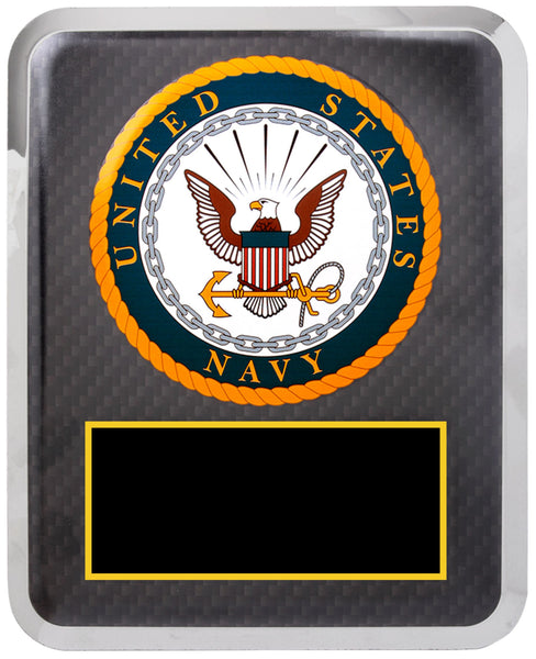 "10 1/2"" x 13"" Navy Black w Gold Text Hero Plaque"