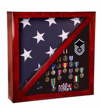 "Laser Pics and Gifts: 17 3/4"" x 17 3/4"" Rosewood Piano Finish Flag & Memorabilia Display Case - Laser Pics & Gifts"