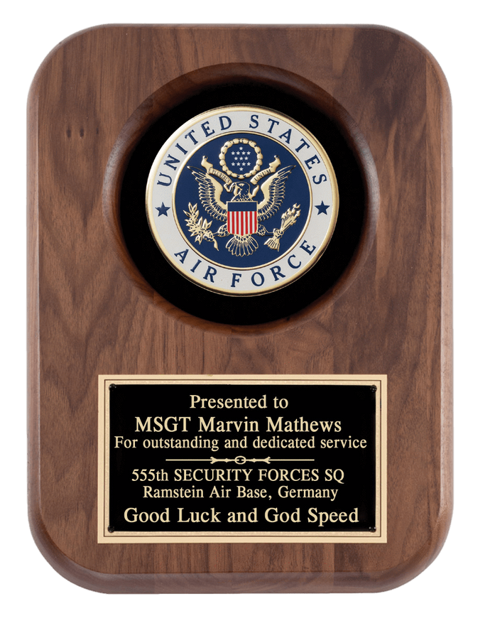 Laser Pics and Gifts: Air Force 9 x 12 Walnut Plaque - Laser Pics & Gifts