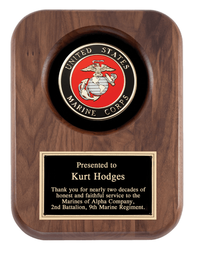 Laser Pics and Gifts: Marine Corps 9 x 12 Walnut Plaque - Laser Pics & Gifts