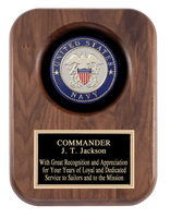 Laser Pics and Gifts: Navy 9 x 12 Walnut Plaque - Laser Pics & Gifts