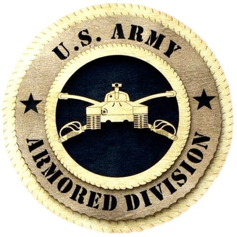 "Laser Pics and Gifts: 12"" ARMORED DIVISION Military Plaque - Laser Pics & Gifts"