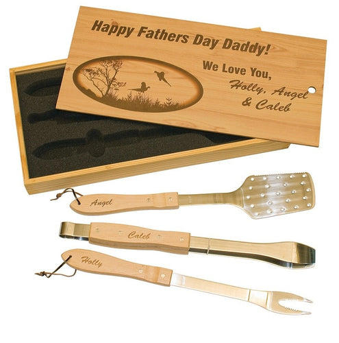 Laser Pics and Gifts: 3 Piece BBQ Set in Wooden Box - Laser Pics & Gifts