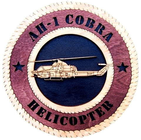 "Laser Pics and Gifts: 12"" COBRA HELICOPTER Military Plaque - Laser Pics & Gifts"