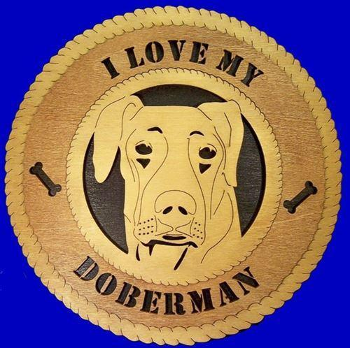 "Laser Pics and Gifts: 12"" DOBERMAN UNCROPPED Dog Plaque - Laser Pics & Gifts"
