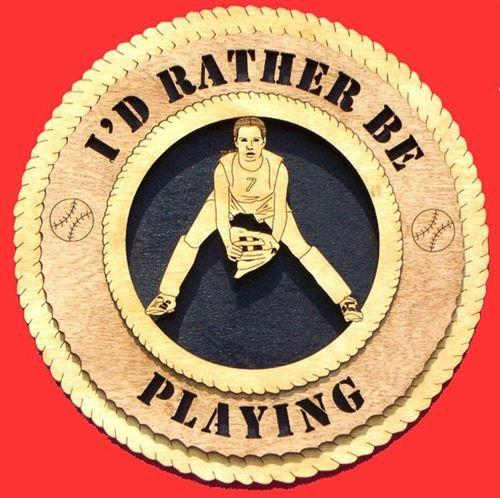 "Laser Pics and Gifts: 12"" FEMALE BASEBALL PLAYER Plaque - Laser Pics & Gifts"