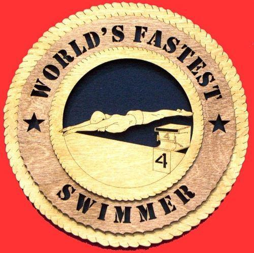 "Laser Pics and Gifts: 12"" MALE SWIMMER Plaque - Laser Pics & Gifts"