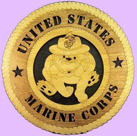 "Laser Pics and Gifts: 12"" MARINE Bulldog Military Plaque - Laser Pics & Gifts"