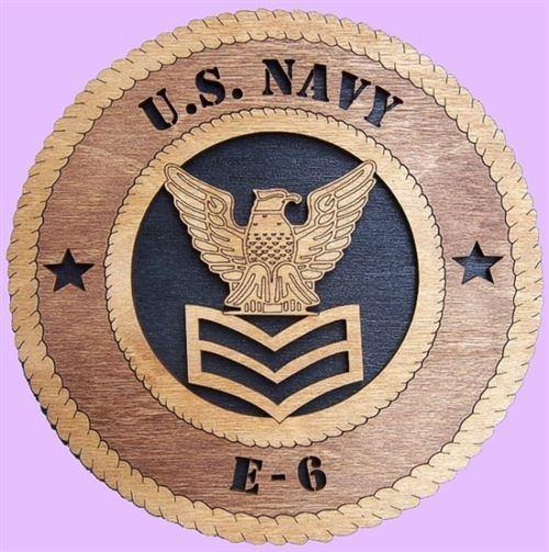 "Laser Pics and Gifts: 12"" NAVY E-6 Military Plaque - Laser Pics & Gifts"