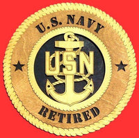 Laser Pics and Gifts: NAVY Retired Military Plaque - Laser Pics & Gifts