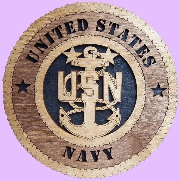"Laser Pics and Gifts: 12"" NAVY E-9 CHIEF Military Plaque - Laser Pics & Gifts"