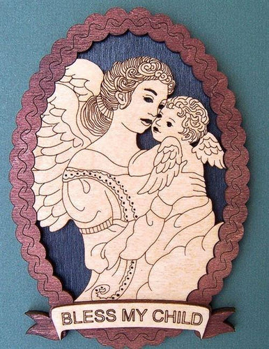 Laser Pics and Gifts:  OVAL ANGEL & BABY Spiritual Plaque - Laser Pics & Gifts