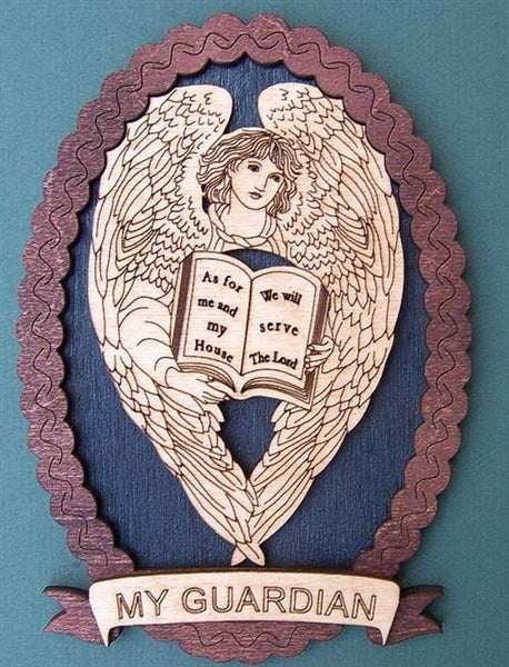 "Laser Pics and Gifts: 12"" OVAL ANGEL & BIBLE Spiritual Plaque - Laser Pics & Gifts"