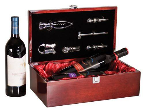 Rosewood Piano Finish Double Bottle Wine Box with Tools