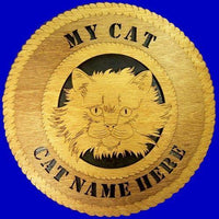 "Laser Pics and Gifts: 12"" LONG HAIRED CAT Plaque - Laser Pics & Gifts"