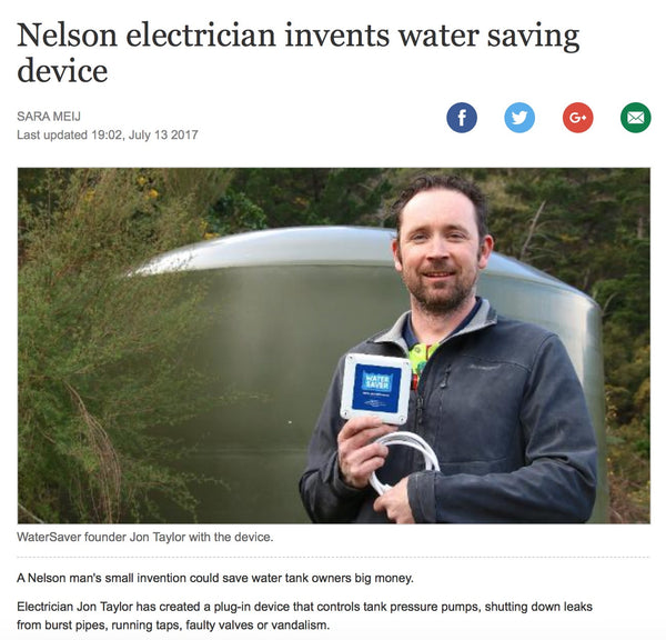 Nelson electrician invents water saving device. A simple but great idea, an invention that could save water tank owners hundreds of dollars.