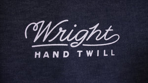 Wright hand twill, screen print, raw denim, selvedge