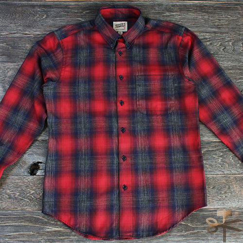 Ombre Melange Check in Red/Navy - Regular Shirt