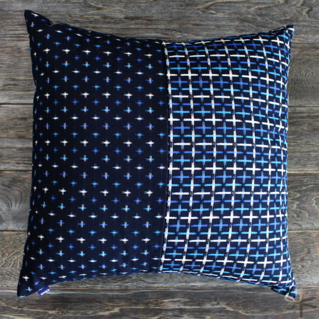 Pillow - Split Indigo Kasuri-Ori Cross
