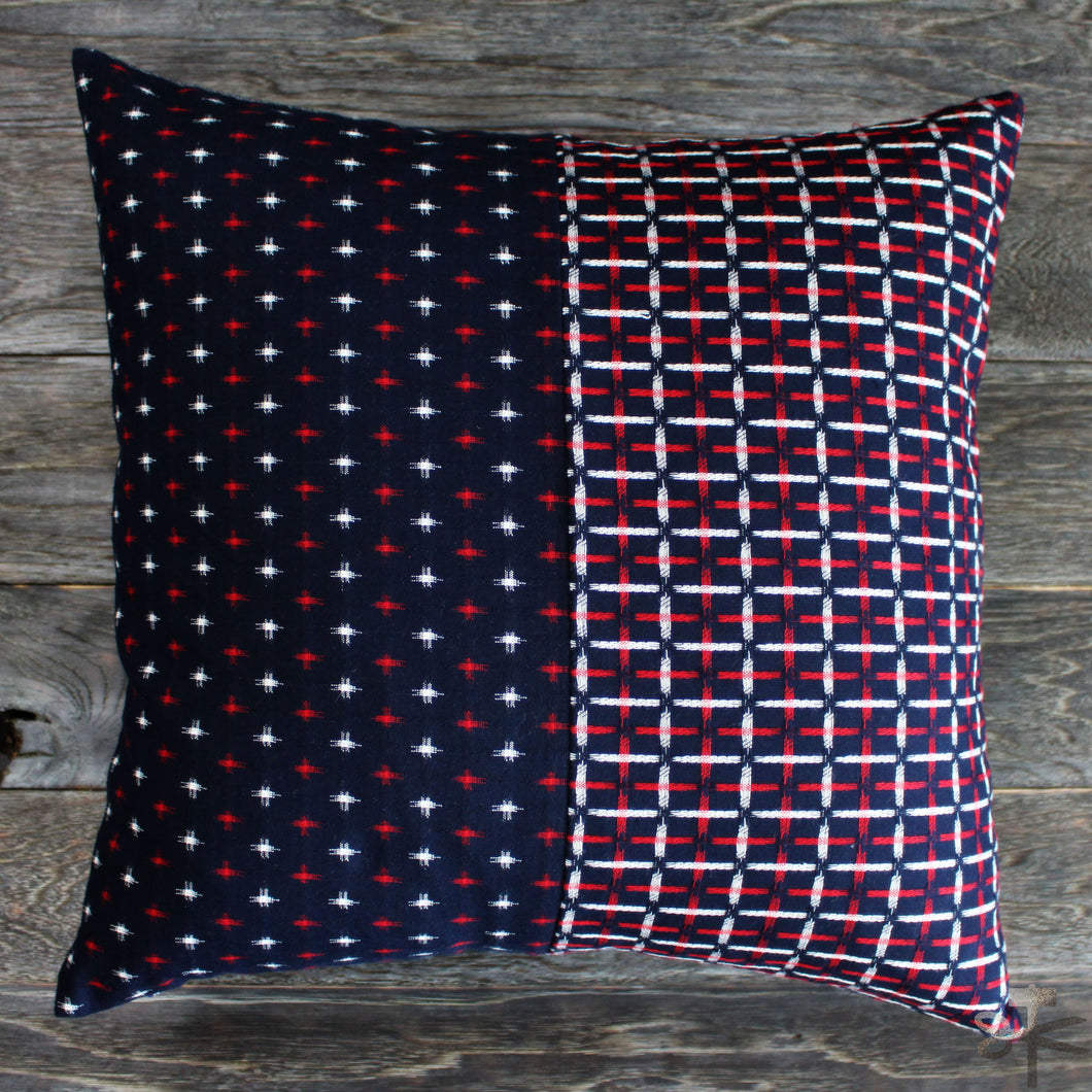 Pillow - Split Red + White Kasuri-Ori Cross