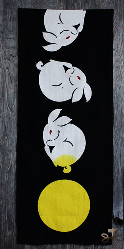 Chu-sen dyed Tenugui, Moon Rabbit