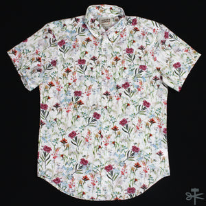 Antique Botanical Painting White - Short sleeve button down shirt