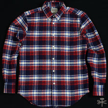 Heavy Brushed Flannel - Navy/Red/White - Regular Shirt