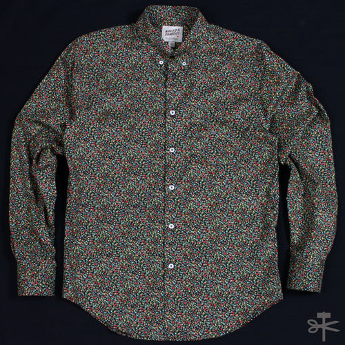 Matte Flowers Print - Black - Regular Shirt