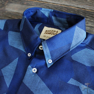 Jacquard Polygons, Blue - Regular Shirt