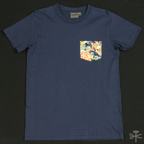 Flower Festival - Navy - Pocket Tee