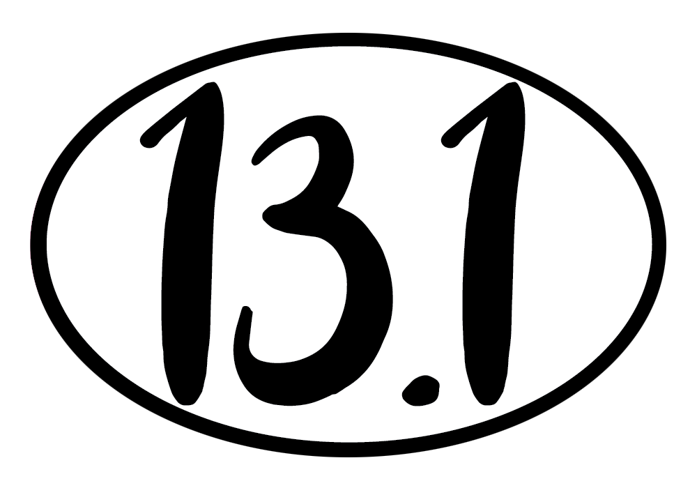 13.1 Half Marathon Colored Oval Decal (L)