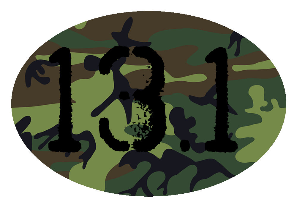 13.1 Camo Colored Oval Decal