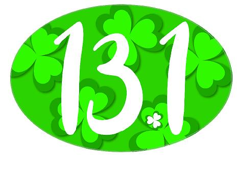 13.1 Oval Decal - Shamrock Background
