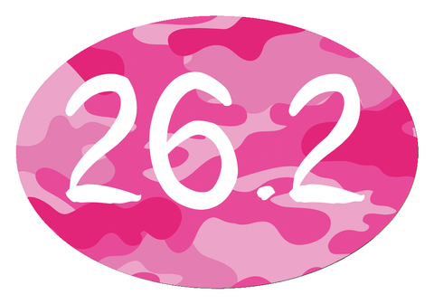 26.2 Oval Decal - Pink Camo