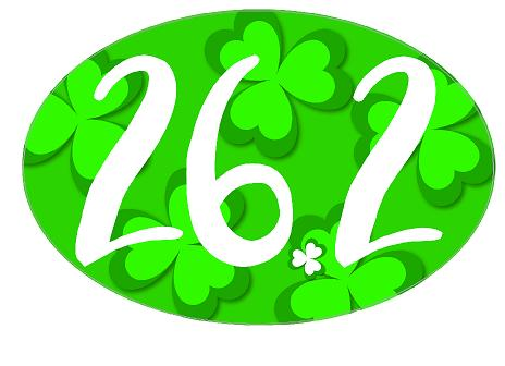 26.2 Oval Decal - Shamrock Background