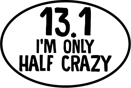 13.1 Only Half Crazy Oval Magnet (FT)