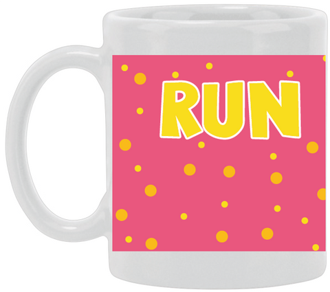 Run Yellow Dots Ceramic Mug