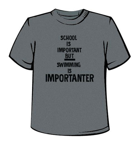 School Is Important but Swimming Is Importanter - Men's Crew Tech Shirt - Heather Grey
