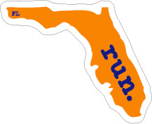 Florida Run State Outline Decal - Orange and Blue