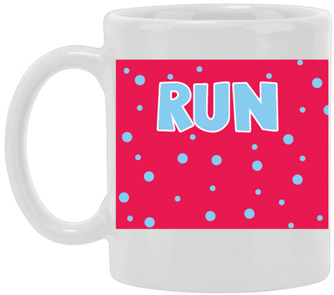 Run Blue Dots Ceramic Mug
