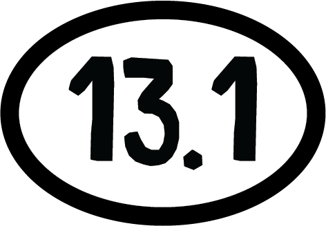 13.1 Half Marathon Colored Oval Decal (F)