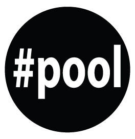 #pool Colored Round Decal - Black