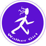Walker Girl Colored Round Decal - Purple