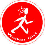 Walker Girl Colored Round Decal - Red