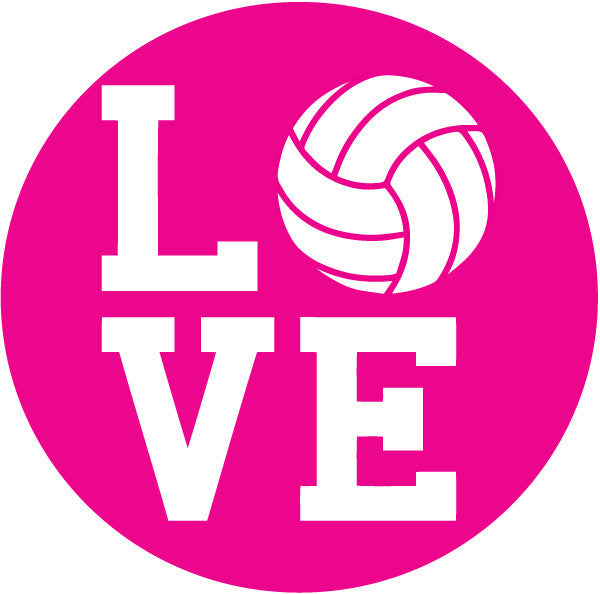 Volleyball Love Pink Round Decal
