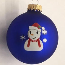 Load image into Gallery viewer, run Christmas Motif Blue Ornament